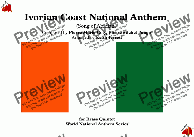 page one of Ivorian (Ivory Coast) National Anthem (Song of Abidjan-L' Abidjanaise) for Brass Quintet (World National Anthem Series)