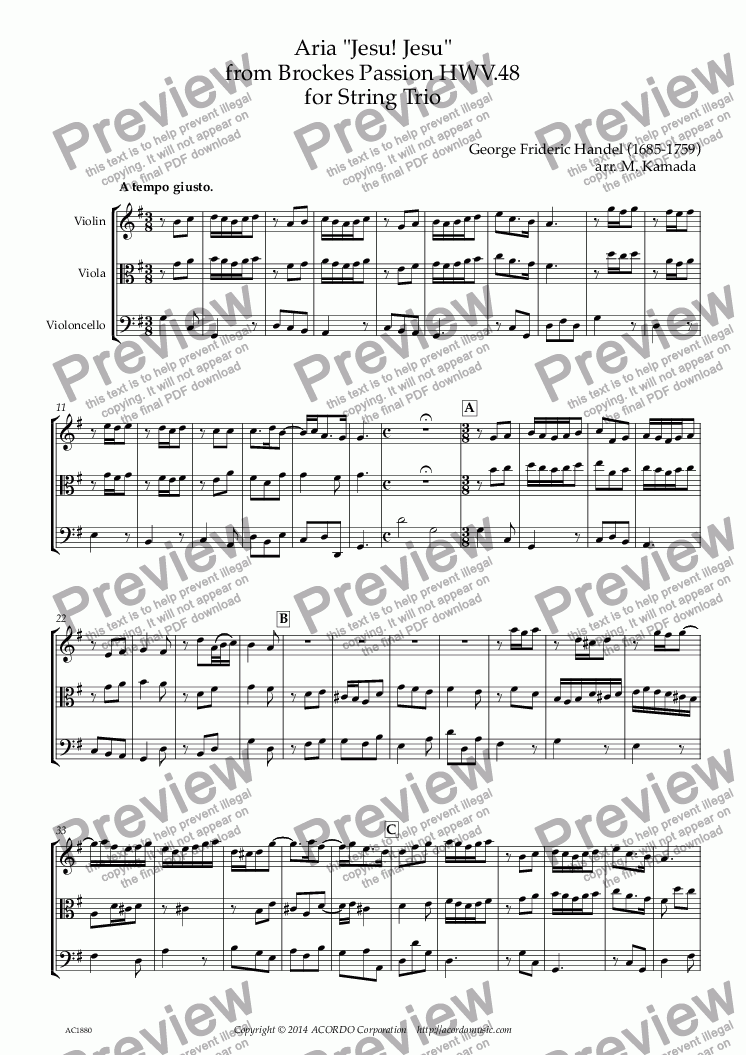 "page one of Aria ""Jesu! Jesu"" from Brockes Passion HWV.48 for String Trio"