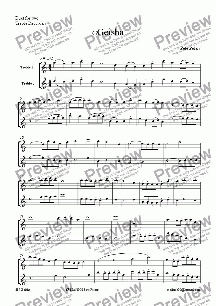 page one of Geisha [Rec or  flute duet]