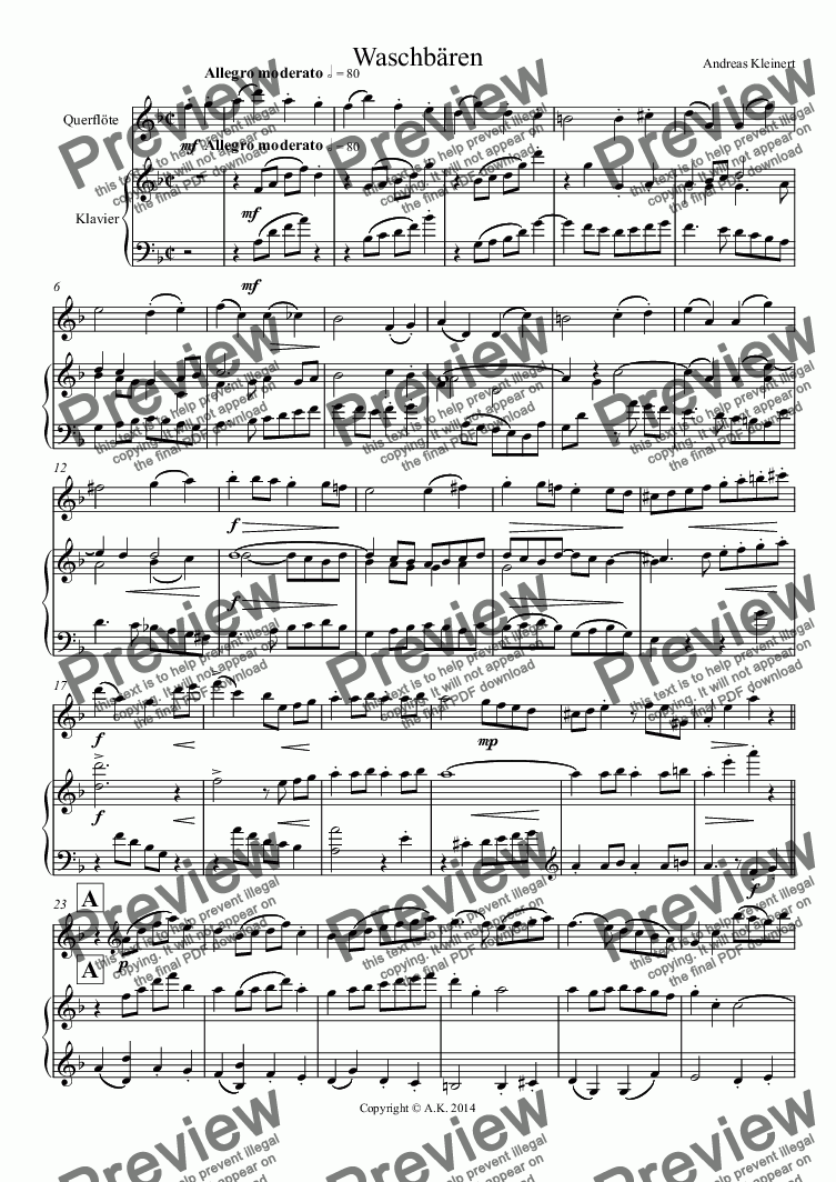 page one of Racoons (flute and piano)