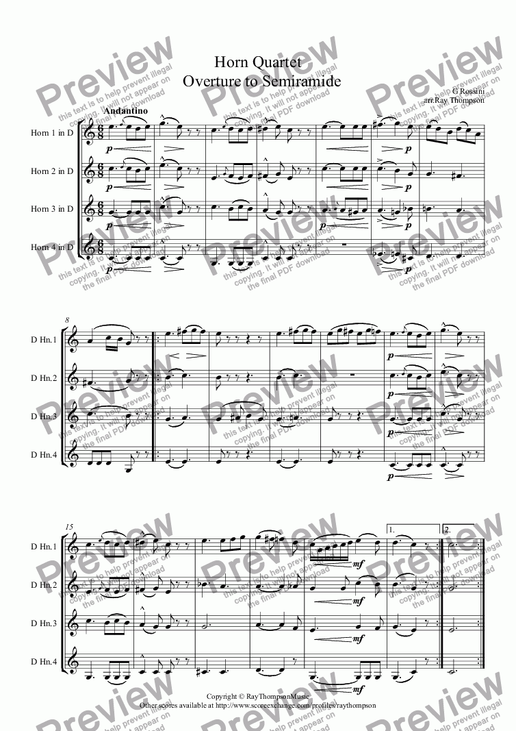 "page one of Rossini: Horn Quartet from Overture to Opera ""Semiramide"""