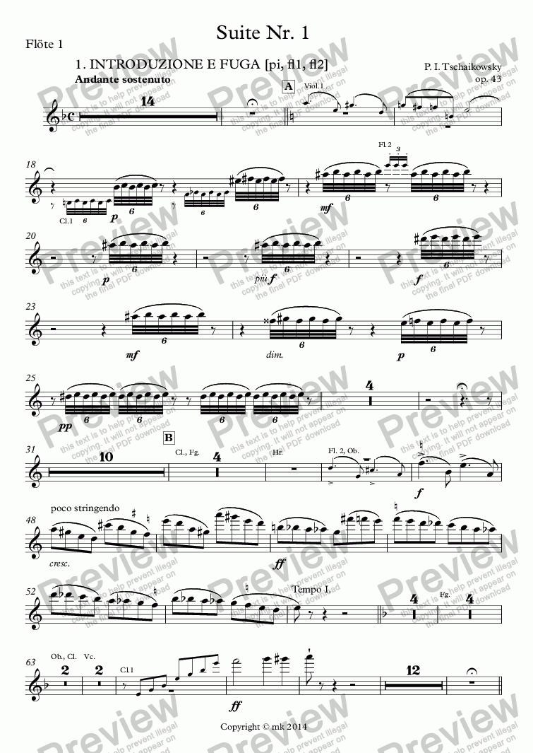 page one of Tschaikowsky, Suite Nr. 1, op. 43 – fl1
