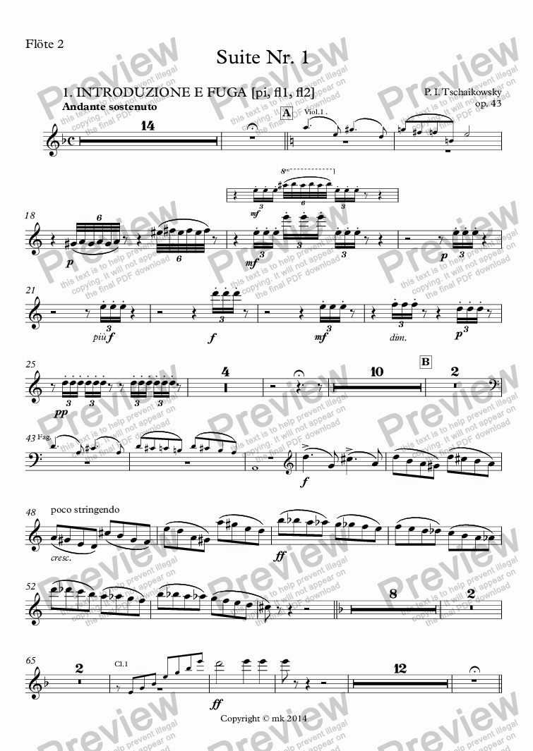 page one of Tschaikowsky, Suite Nr. 1, op. 43 – fl2ASALTTEXT