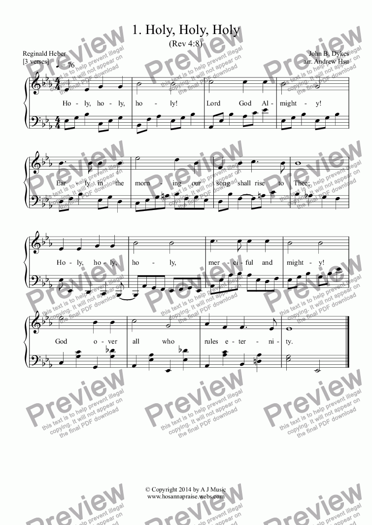 page one of Holy, Holy, Holy - Easy Piano 1