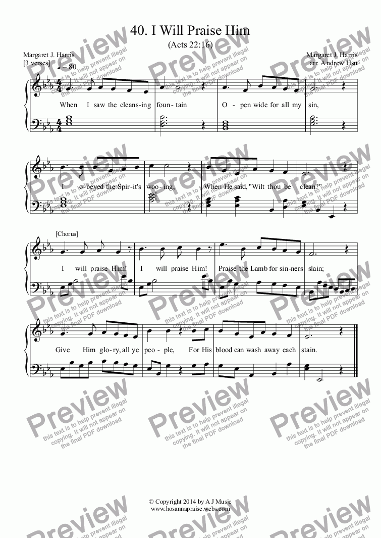 page one of I Will Praise Him - Easy Piano 40