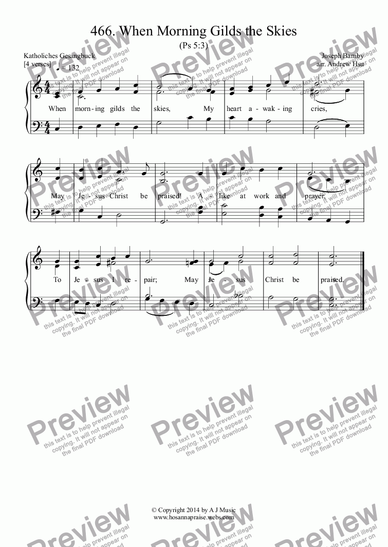 page one of When Morning Gilds the Skies - Easy Piano 466ASALTTEXT