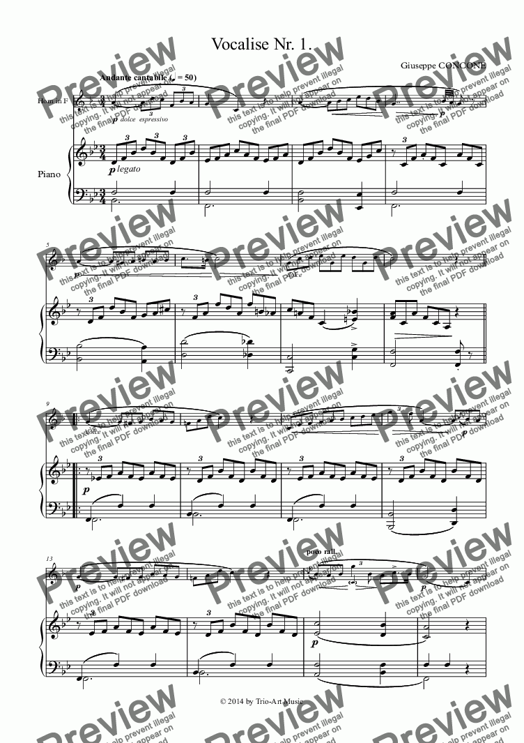 page one of Vocalise Nr. 1. for Horn and Piano