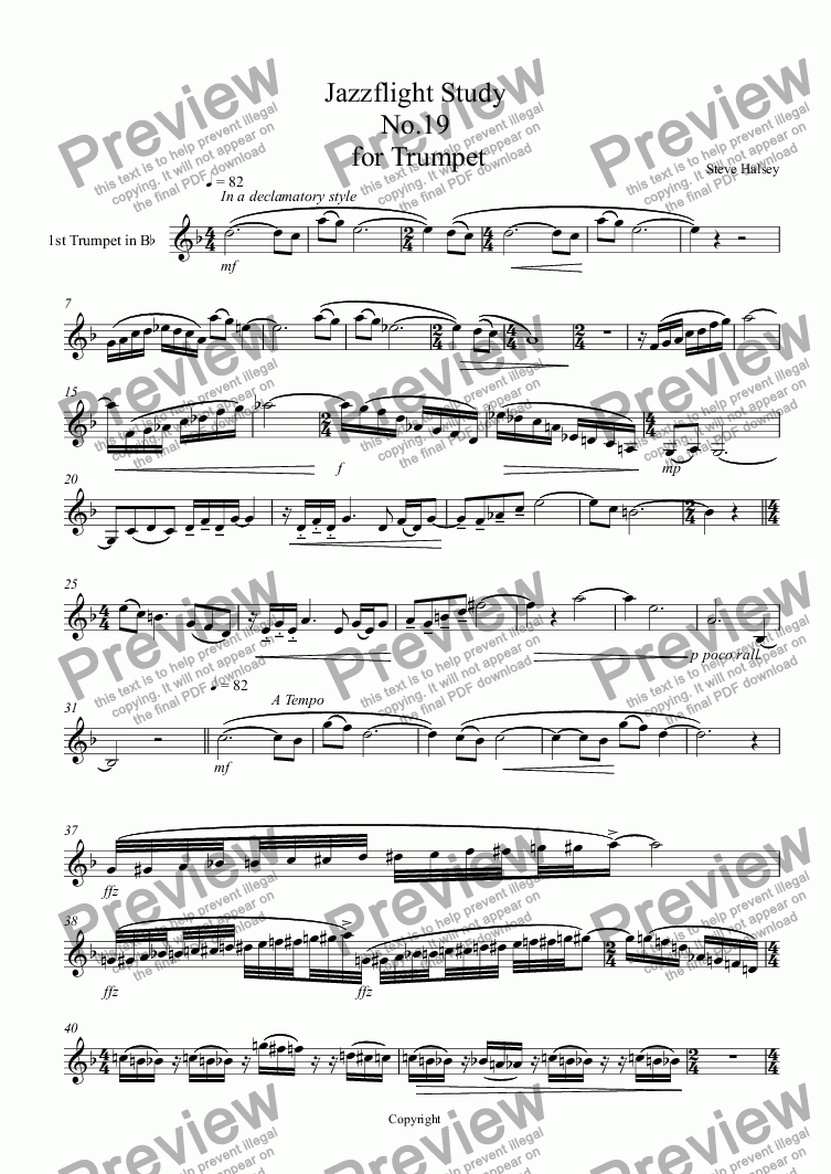 page one of Jazzflight Study  No.19  for Trumpet