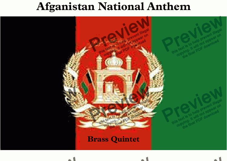 "page one of Afgan National Anthem (Milli Surood  ""ملي سرود"") for Brass Quintet"