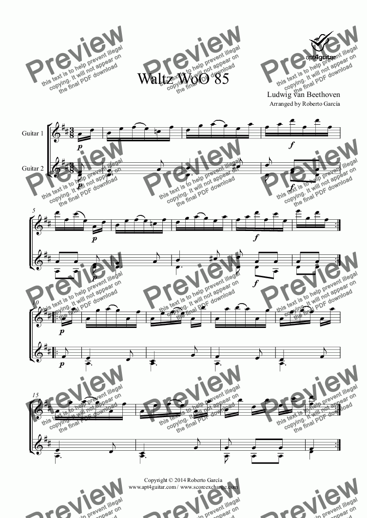 page one of Waltz WoO 85 for guitar duet