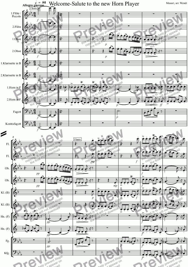 page one of Welcome-Salute to the new Horn Player