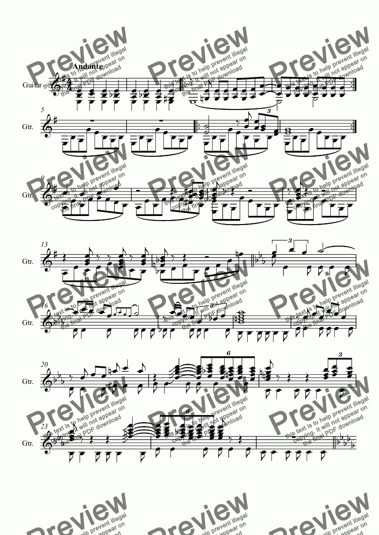 page one of Andante for GuitarASALTTEXT