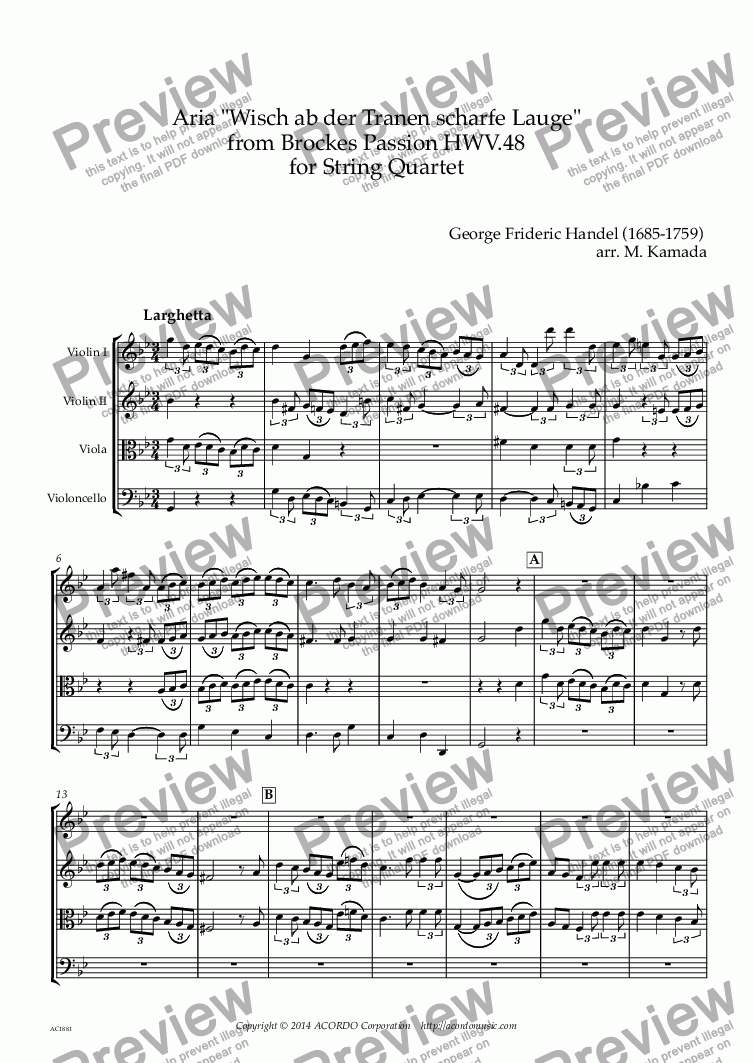 "page one of Aria ""Wisch ab der Tranen scharfe Lauge"" from Brockes Passion HWV.48 for String Quartet"