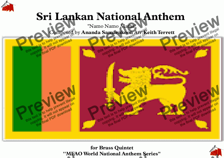 "Sri Lankan National Anthem (Namo Namo Matha ""ශ්‍රී ලංකා මාතා"" சிறீ லங்கா  தாயே Mother Sri"