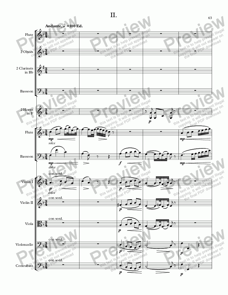 page one of MOZART - STARR; Sinfonia concertante in C Major, KV 521 for solo flute, solo bassoon and orchestra; SECOND MOVEMENT