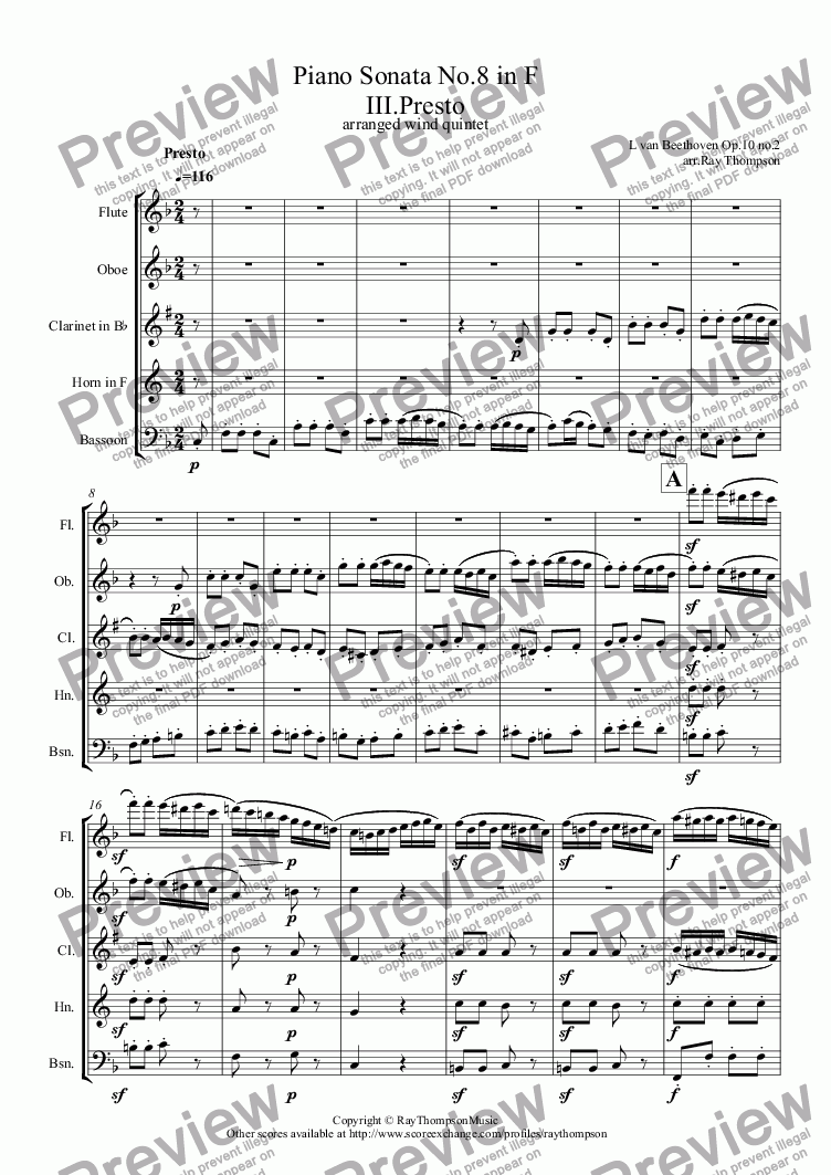 page one of Beethoven: Piano Sonata No.6 in F (Opus 10 No.2): Mvt. III Presto (complete) (arranged wind quintet)