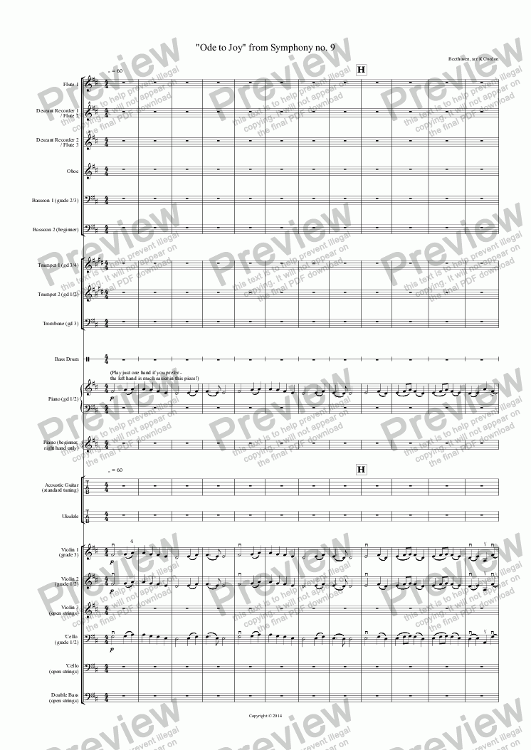 "page one of ""Ode to Joy"" from Symphony no. 9"
