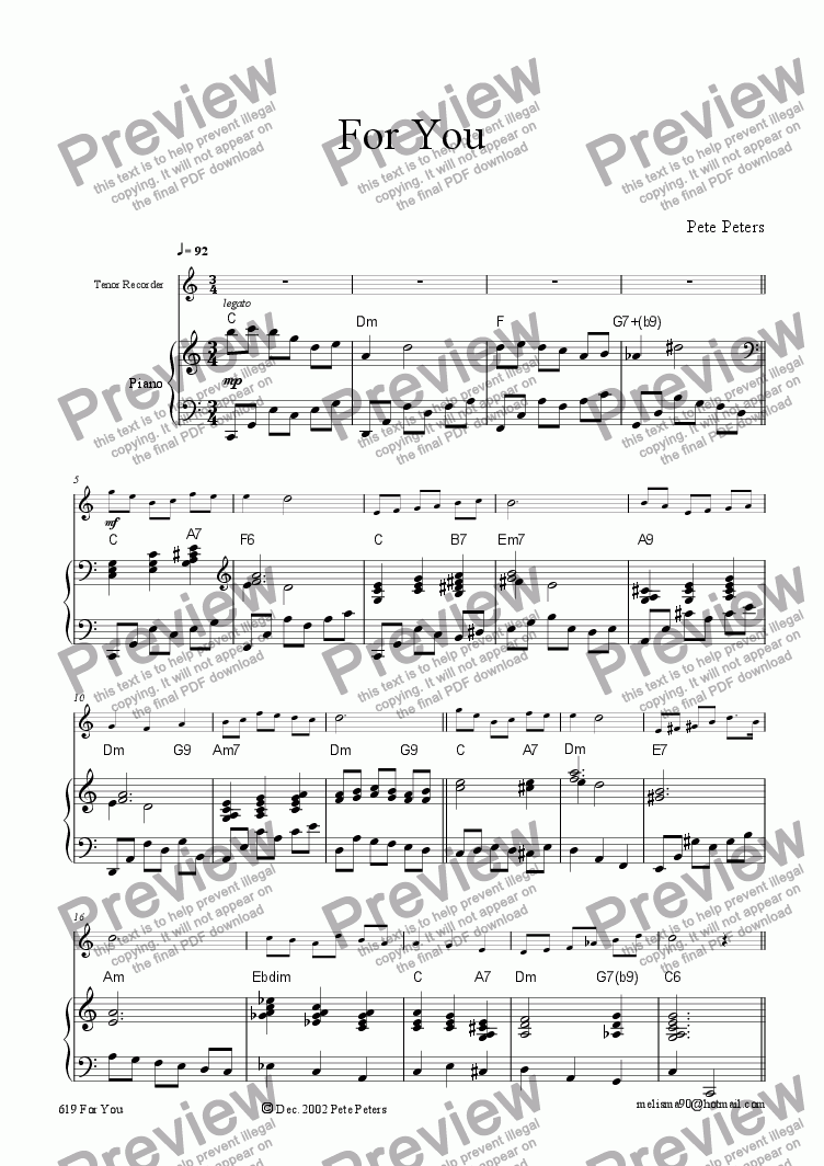 page one of For You. Flute,Recorder,or Violin + Piano