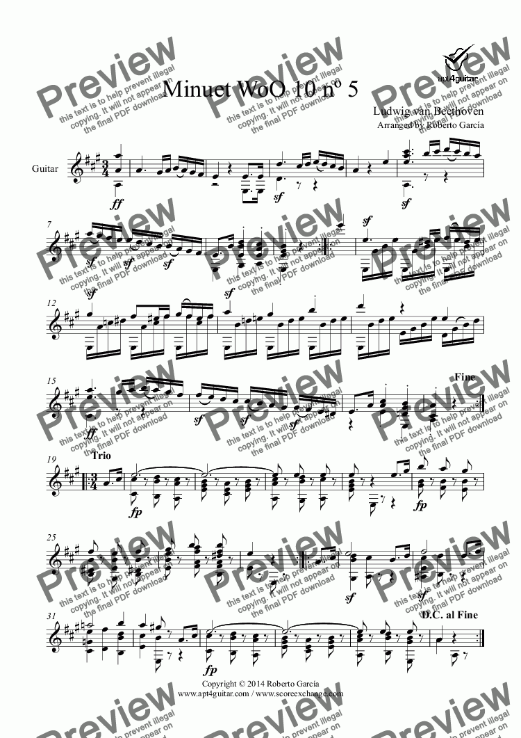 page one of Minuet WoO 10 nº 5 for solo guitar