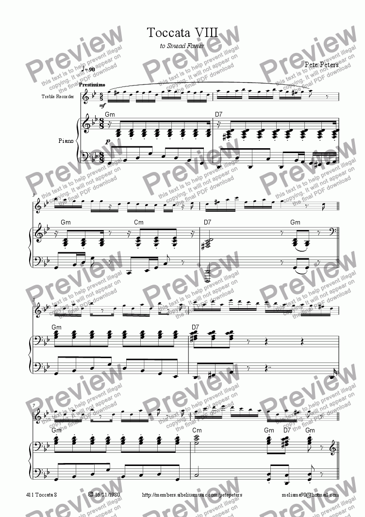 page one of Toccata 8 (solo inst + pno)