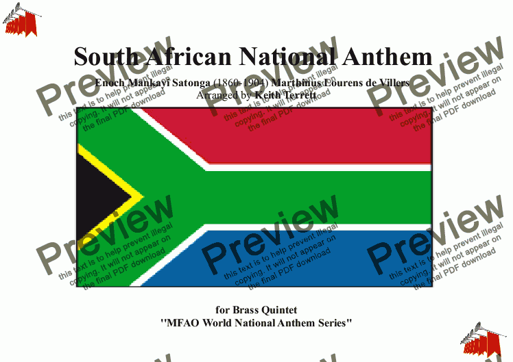 page one of South African National Anthem for Brass Quintet (MFAO World National Anthem Series)
