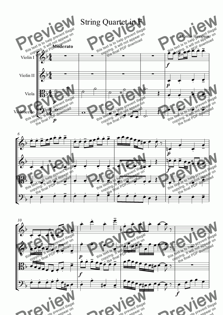 page one of String Quartet in F