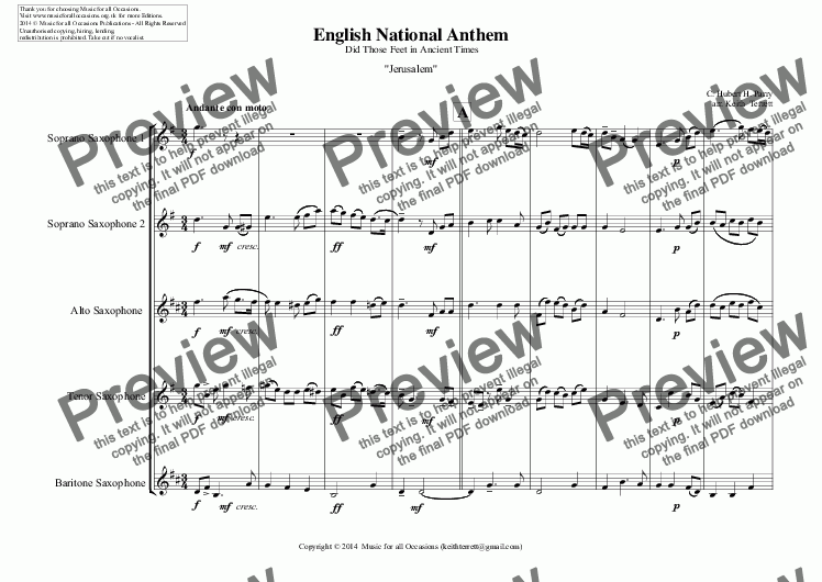 page one of English National Anthem (Did Those Feet in Ancient Times) for Saxophone Quintet