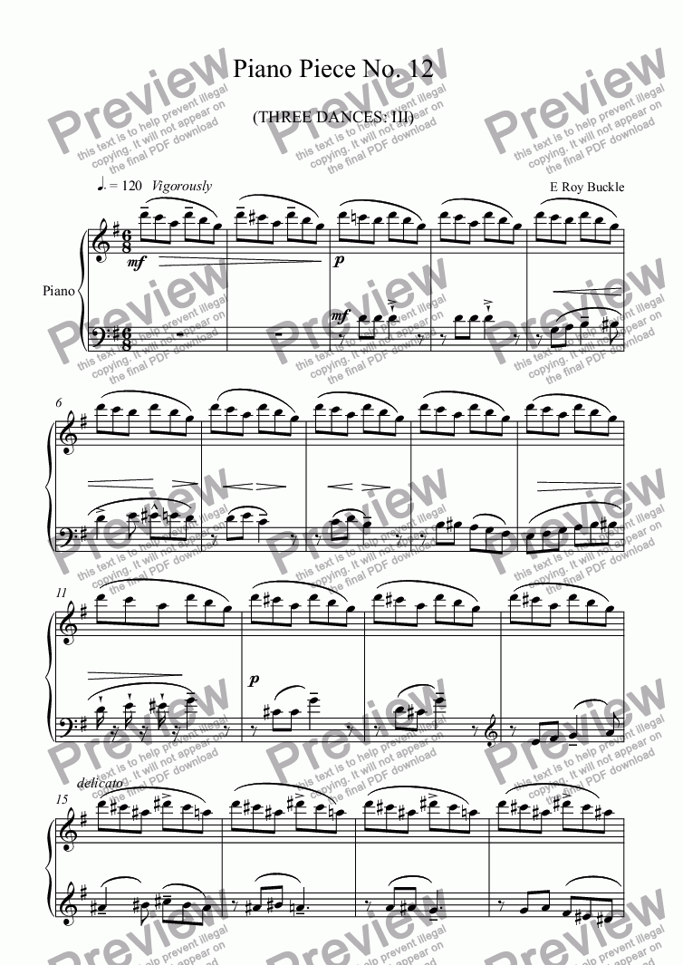 page one of Piano Piece No. 12