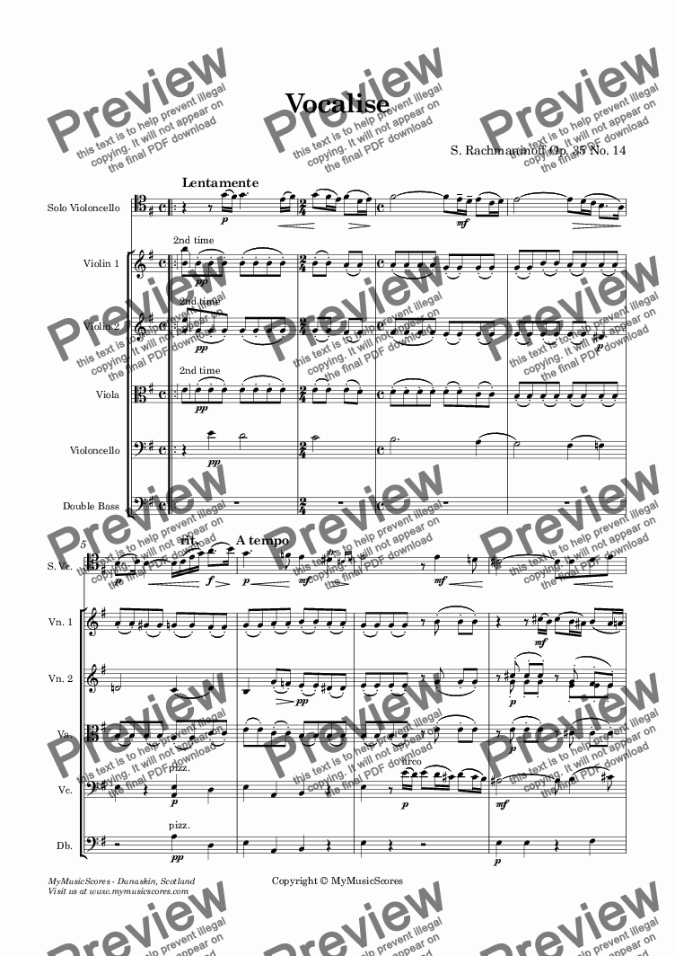 page one of Rachmaninoff Vocalise for cello and string orchestraASALTTEXT
