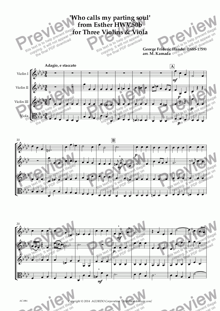 page one of 'Who calls my parting soul' from Esther HWV.50b for Three Violins & ViolaASALTTEXT