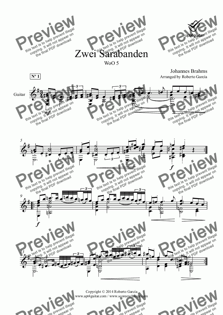 page one of Zwei Sarabanden for solo guitar