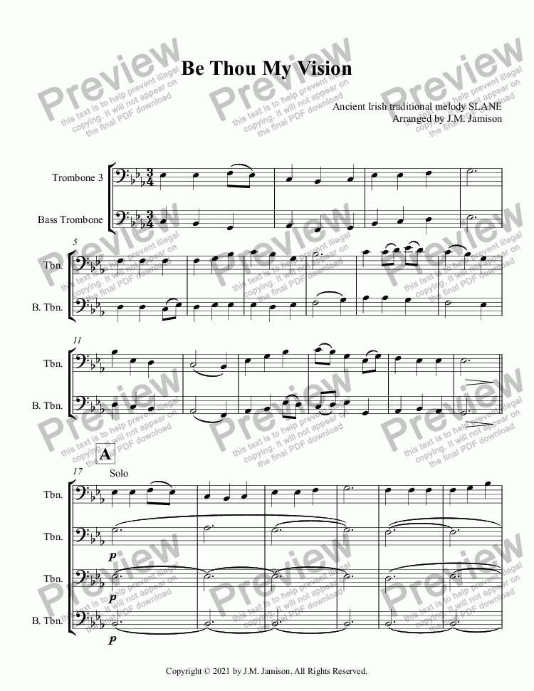 page one of Be Thou My Vision (Trombone quartet)