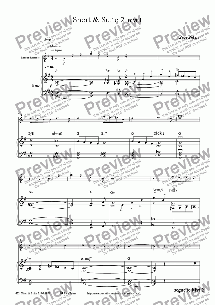 page one of Short & Suite 2 Mvts 1,2,3.(solo inst + pno)