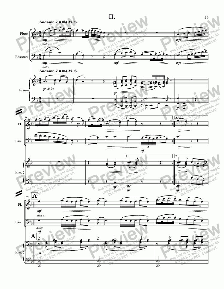 page one of MOZART - STARR; Sinfonia concertante in C Major, KV 521 for solo flute, solo bassoon and piano (reduction;) SECOND MOVEMENT