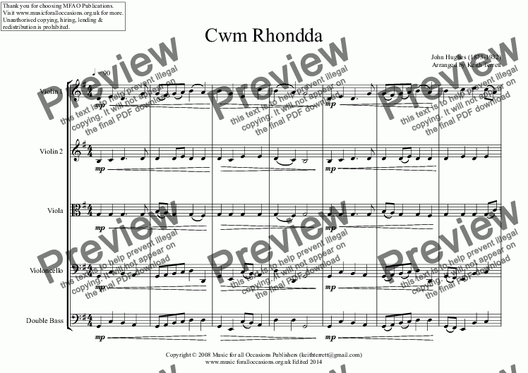 page one of Cwm Rhondda for String OrchestraASALTTEXT