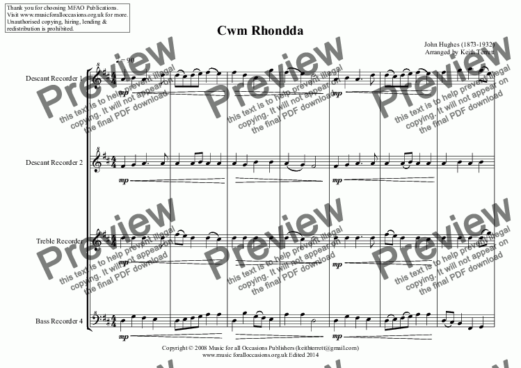 page one of Cwm Rhondda for Recorder QuartetASALTTEXT