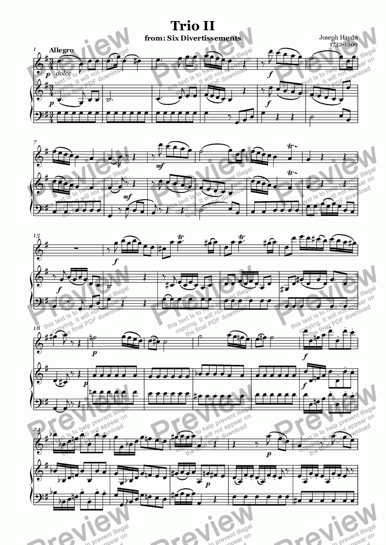 page one of Trio II (Haydn)