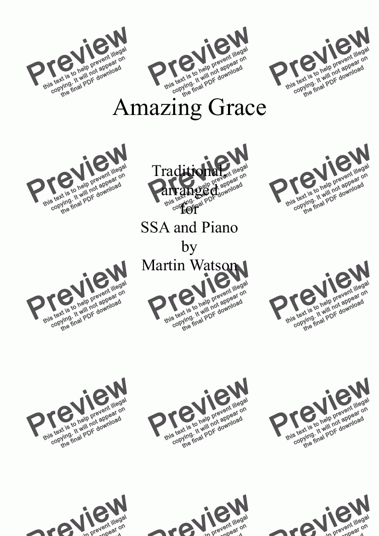 page one of Amazing Grace for SSA Choir and Piano