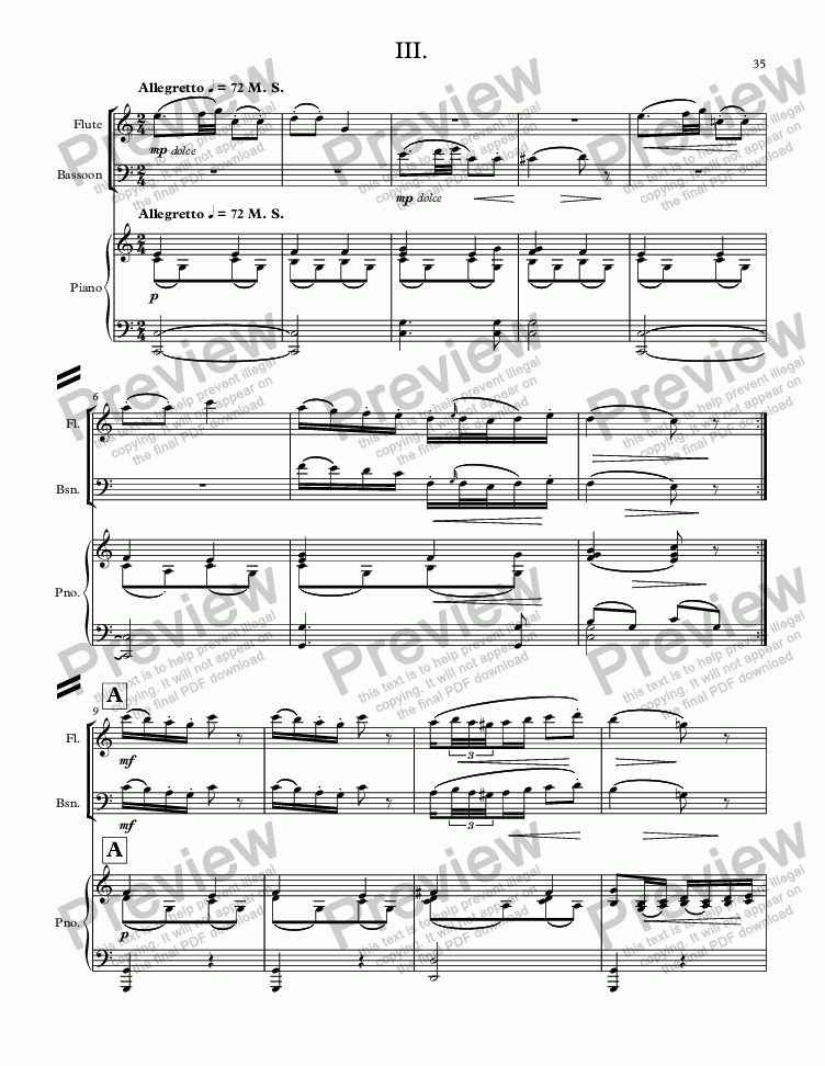 page one of MOZART - STARR; Sinfonia concertante in C Major, KV 521 for solo flute, solo bassoon and piano (reduction of orchestra;) THIRD MOVEMENT