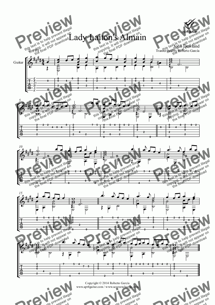 page one of Lady Laiton's Almain for solo guitar