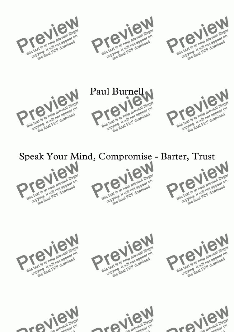 page one of Speak Your Mind, Compromise - Barter, Trust, for wind quintet