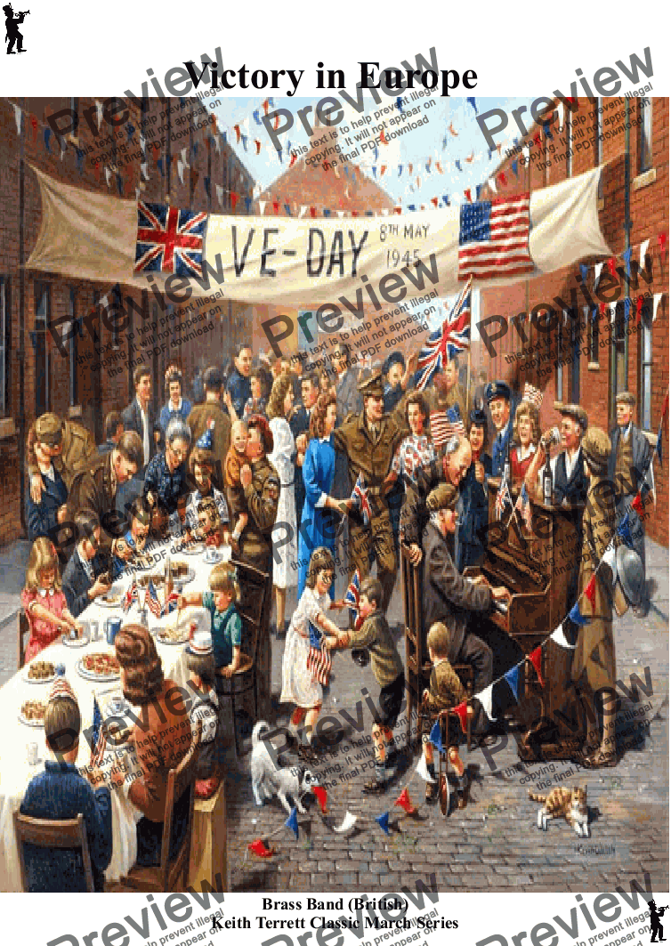 page one of VE Day March  for Brass Band (British)  (Keith Terrett Classic March Collection)