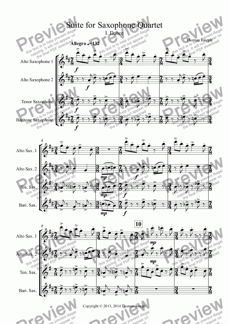 page one of Suite for Saxophone Quartet