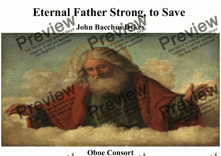 page one of Eternal Father Strong, to Save (Naval hymn) for Oboe Quartet-QuintetASALTTEXT