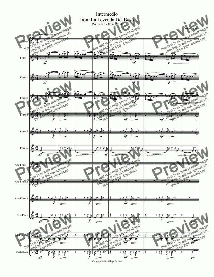 page one of Intermedio from La Leyenda Del Beso for Flute Choir