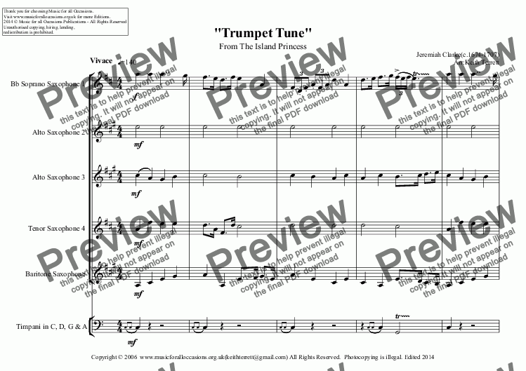 page one of Trumpet Tune from the Island Princess for Saxophone Quintet