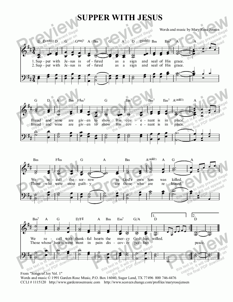 page one of Supper With Jesus (Communion hymn/ Maundy Thursday) SATB