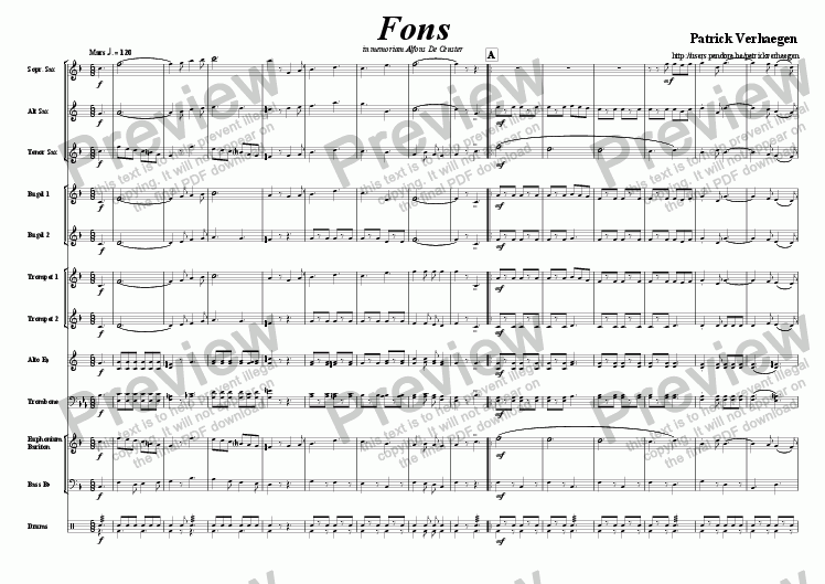 page one of Fons (march for fanfare band)ASALTTEXT