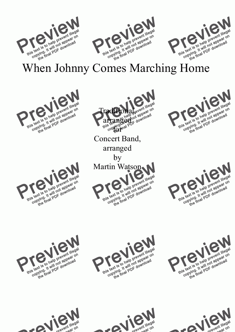 page one of When Johnny Comes Marching Home for Concert Band