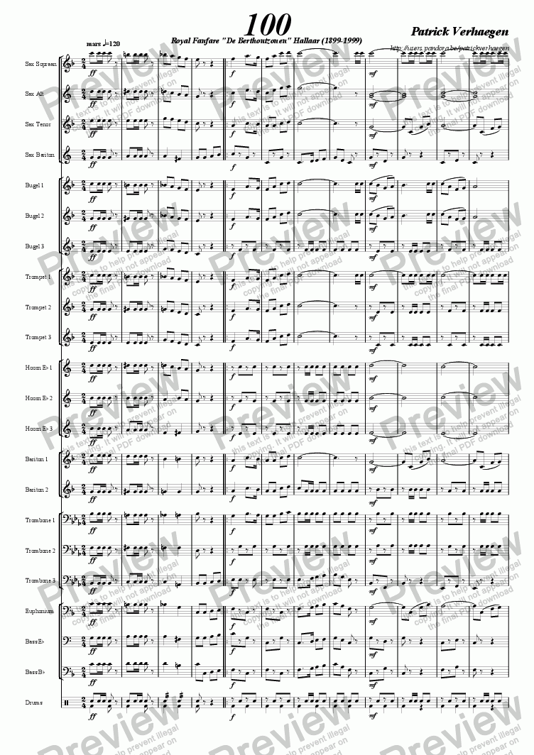 page one of 100 (march for fanfare band)ASALTTEXT